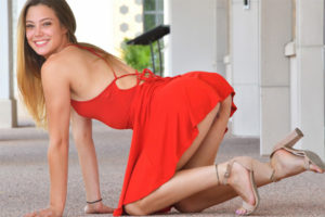 Hotty Avery Bending Over To Flash Her Pussy